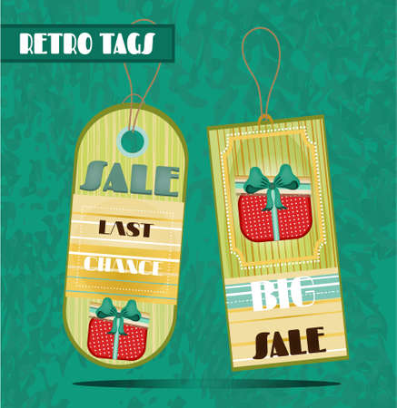 Group of two hanging tags with patterns Vector