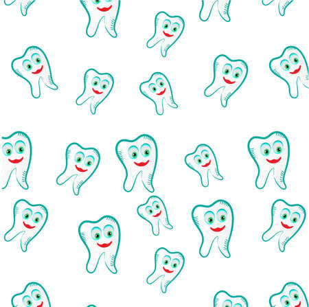 white teeth: Seamless pattern with teeth on white background