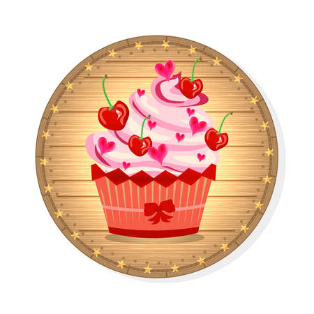 Huge cupcake with pink cream, cherries and small hearts