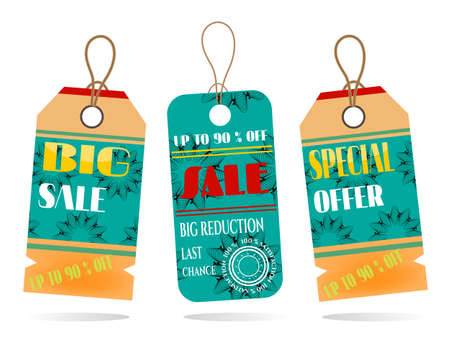Group of two hanging tags with pattern Vector