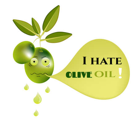 green olive: Funny, green olive with leaves and text