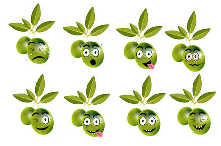 Funny set of olives with leaves and face