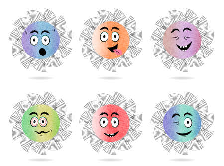 Set of 6 isolated, flat, colorful icons with face