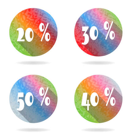 40 50: Group of four colorful buttons with 20, 30, 40, 50 percent discount Illustration