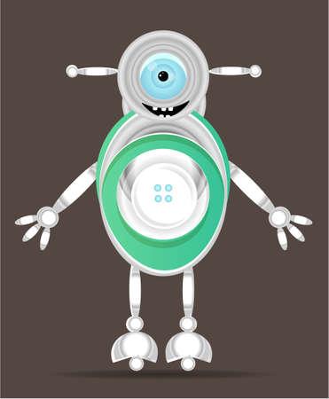 ojo azul: Uno, robot sonriente aislado con el ojo azul