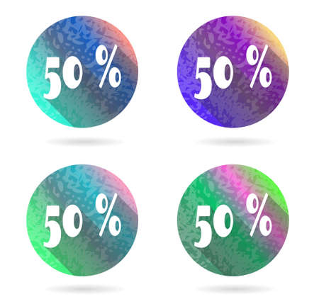 Group of four colorful buttons with 50 percent discount Vector