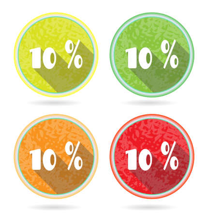 Set of 4 isolated, flat, colorful buttons, percent discount Vector