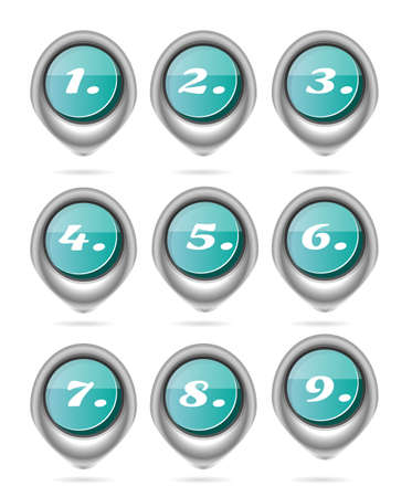 blue buttons: Set of round, blue buttons with numbers