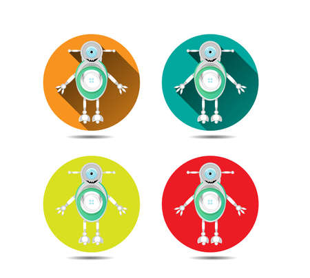 Set, collection of four icons with modern, silver, smiling robot, with one large, blue eye Vector