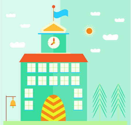 Green, school building with flag, clock, landscape with sun, clouds and trees Illustration