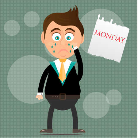 standing man: Sad, crying, young, standing, man with tears, piece of paper with text Monday, gray background with pattern