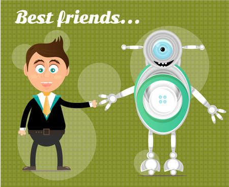standing man: Smiling, happy, young, standing, man with modern robot, text Best Friends, green background with pattern Illustration