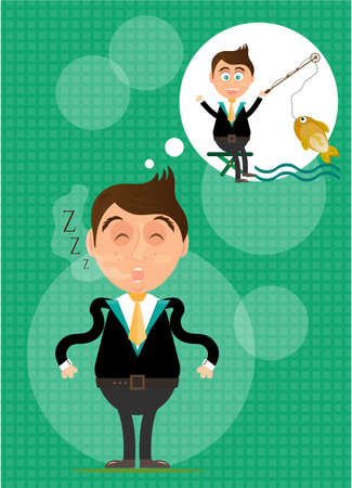 Sleeping, young, standing, man has dream about fishing. He caught golden fish. Green background with pattern. Vector