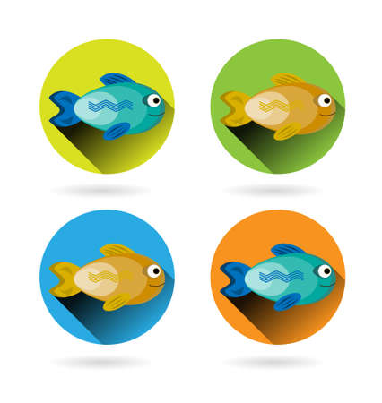blue smiling: Set, collection, group of isolated, round icons with blue, smiling, happy fishes and yellow-golden fishes