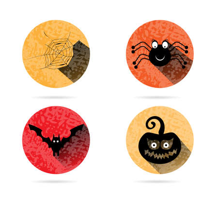 Group of four orange icons with cobweb, spider, bat, pumpkin Vector