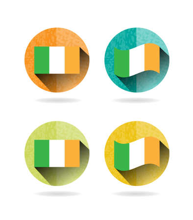irish pride: Group of four round, colorful signs with ireland flag, white background
