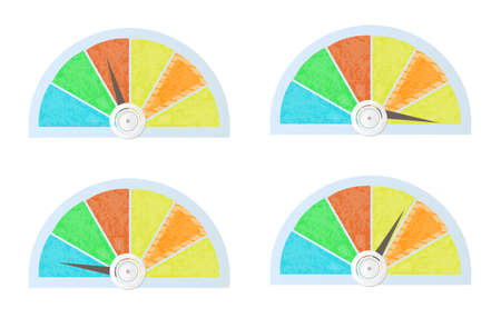 benchmark: Set, collection of colorful pie charts, diagrams, white background