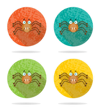 Group of four orange icons with brown spider Vector