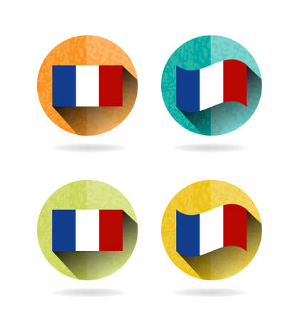 europa: Group of four round, colorful signs with french flag, white background Illustration