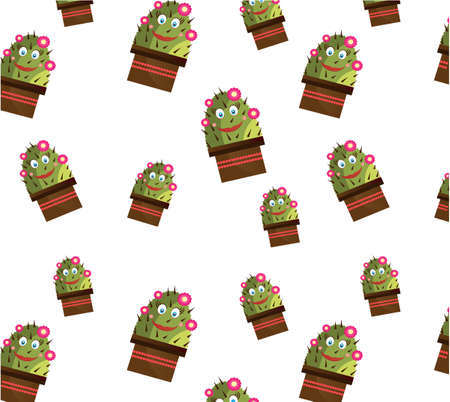 One seamless pattern with smiling cactus with face and flowers, white background Vector