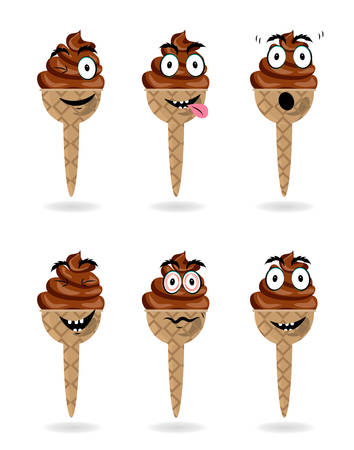 cornet: Funny, cartoon set, collection, group of chocolate ice creams with character, face, white background Illustration