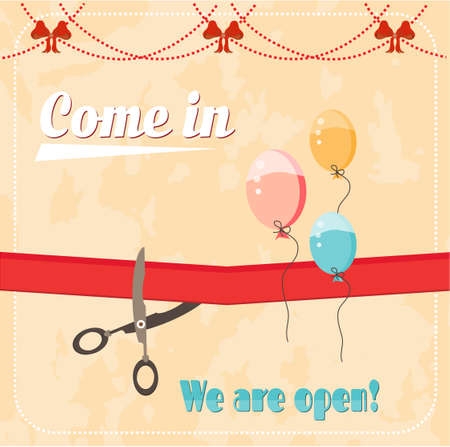 come in: Vintage, advertising card - scissor cutting red ribbon, text Come in, We are open, red bows, flying balloons, retro design
