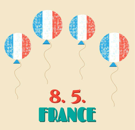 fete: Vintage card with flying balloons - french flag, celebrate 8 May - 8.5. - victory day in France - Fete de la Victoire, retro design Illustration