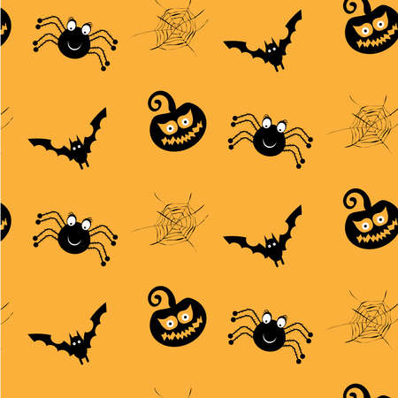 spider webs: One halloween, simple, seamless pattern with black spiders, smiling pumkins, bats, spider webs, orange background