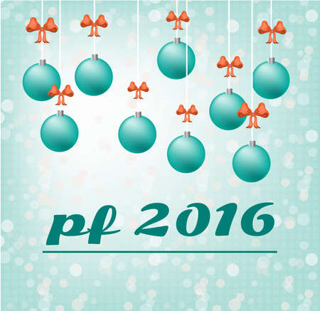 pour feliciter: Blue card - Happy New Year - with hanging, christmas bulbs with red bow, text PF 2016 - Pour Feliciter, blue background