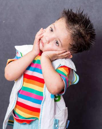 child model: sad expiration. boy fashion portrait. Child model.