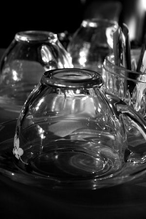 tea glasses in cafe