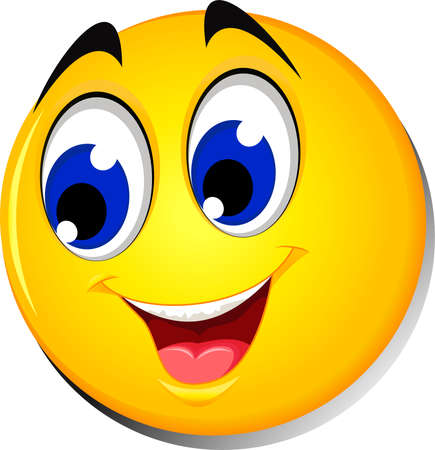 Happy smiley emoticon face on white background Vetores