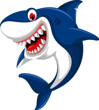 cute angry shark cartoon