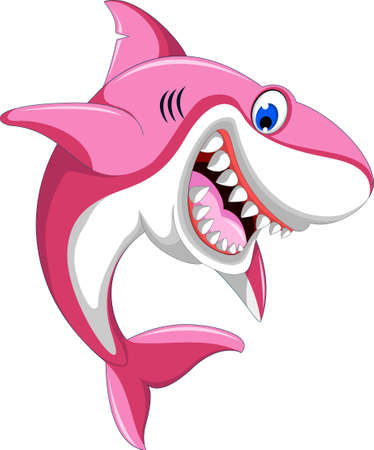 happy angry pink shark 일러스트