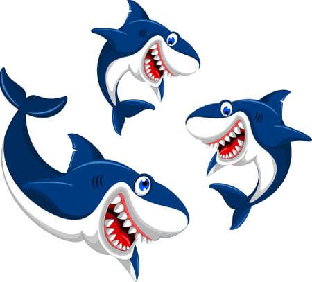 happy three angry shark Ilustração