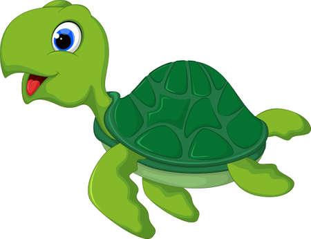 amphibian: Cute sea turtle cartoon Illustration