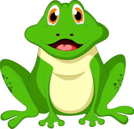 rana caricatura: Historieta linda de la rana verde