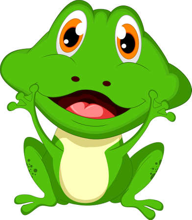 dinky: Cute cartoon green frog waving two  hand