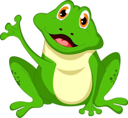 dinky: Cute cartoon green frog waving hand