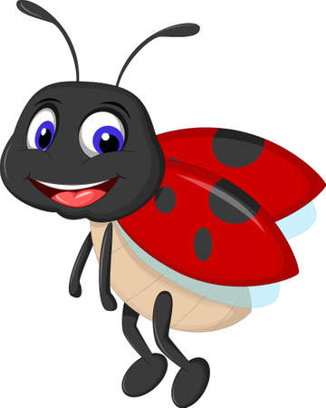 ladybug: cute ladybugs waving cartoon