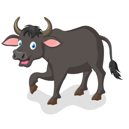 hoofed mammal: cute buffalo cartoon Illustration