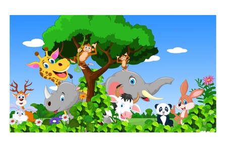 grasslands: Cartoon happy little animal