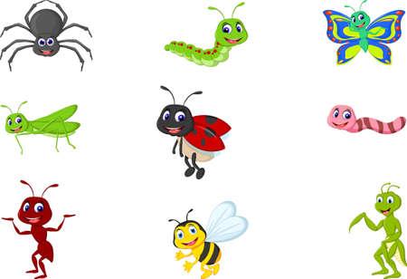 collectie van insecten cartoon