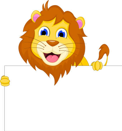lion cartoonn with blank sign