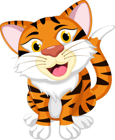 diffident: funny tiger cartoon for you design Illustration