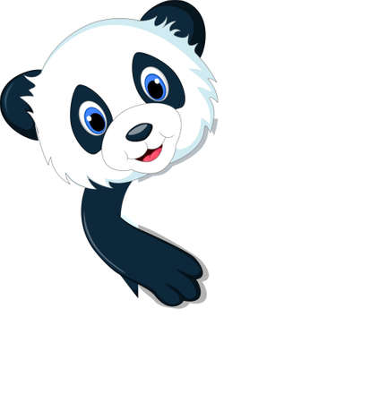 mignon dessin animé panda avec signe blanc