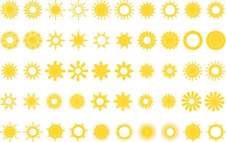 suns: suns icon set on white Illustration