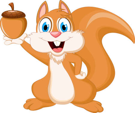funny squirrel holding nut Vectores