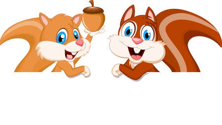 happy squirrel cartoon with blank sign