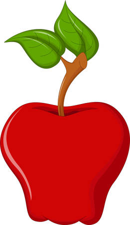 still life food: Red apple - vector illustration